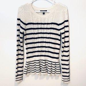 Extra Fine Wool Cashmere Peplum Striped Sweater S